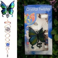 RRP £21 Butterfly Crystal Twister Wind Spinner Iron Stop Garden Sun Catcher Hook