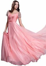 Women's Formal Cap sleeves Rhinestones Sequins beaded Long Evening prom dress