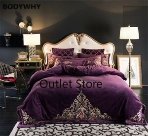 Luxury Royal Embroidery Thick Flannel Bedding Set Fleece Fabric Cover Bed Sheet