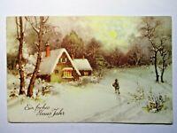 AK 2.WK WW selten ! Gemälde Neujahr = Ein frohes neues Jahr  Mann im Schnee