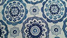 "Mill Creek Isma Lapis Cotton geometric retro blue suzani 57"" width BTY 7yds NEW"