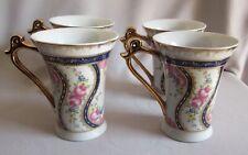 Set of 4 Mugs Royal Scotland Floral Pattern Navy & Pink on White w/ Gold Trim