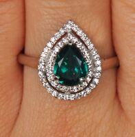 100% Natürliche Grün Smaragd 1,55 Karat Birne Form 925 Sterling Silber Ring
