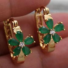 18K Yellow Gold Filled - Flower Clover Emerald Jade Topaz Gemstone Hoop Earrings