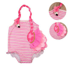 Toddler Girls Striped Flamingo One-Piece Swimwear Swimsuit Clothes Bathing Suit