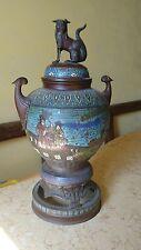 brûle parfum  en cloisonné décoré chien fô