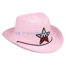 Boys Girls Kids Straw Western Cowboy Cowgirl Hat Stars Sun Cap Applique Hea TN2F