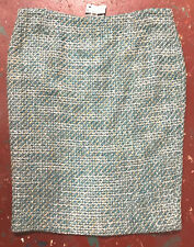 $300 Nwt YMAYABA turquoise beige white wool blend SKIRT L (44 Eu size) Free ship