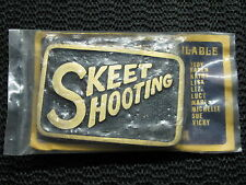 SKEET SHOOTING BELT BUCKLE! VINTAGE! VERY RARE! NOS! BRASS! MADE IN USA! SHOTGUN