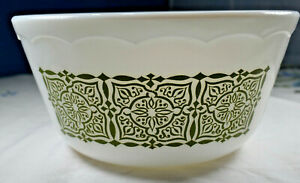 Vintage Pyrex Style Mixing Bowl Green Pattern Made In USA