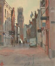 "ORIGINAL MICHAEL RICHARDSON OIL ""The Belfry, Bruges"" BELGIUM CITY PAINTING"