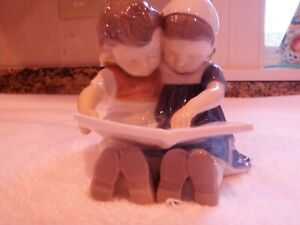 B&G Bing and Grondahl 1567 Figurine of Boy and Girl Reading - mint condition