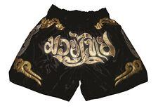 Kickboxen Muay Thai Hose K1 Satin Kampfsport Thai Boxen Shorts schwarz-gold NEU