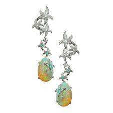 925 Silver Opal Drop Ear Studs Dangle Earrings Wedding Shiny Stars Jewelry Gift