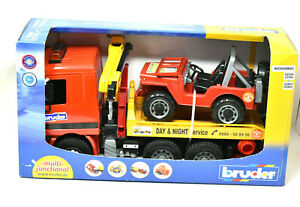 Bruder Mercedes-Benz Tow Truck with Crane and Jeep - NEW