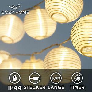 Party LED Lampions Lichterkette Strom 20 Lampion Warmweiß Deko Garten Außen
