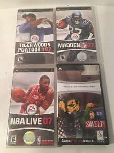 PSP Game Lot Of 4 Tiger Woods 07, NBA 07, Madden 07 And Ratchet & Crank Used