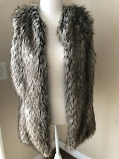 Bsable Multi-brown Faux Fur Vest Women's Size Small Side Pockets Sleeveless