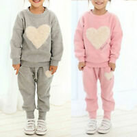 Kids Girls Heart Pullover Jumper Top Pants Casual Outfits Set Sports Tracksuit