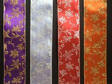 laverslace - 5 METRE Glitter Floral Luxury Wire Edge Ribbon 40mm - CHOOSE COLOUR