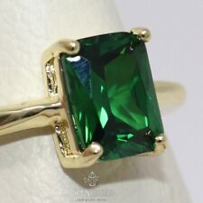 Sparkling Baguette Cut Emerald Ring Women Wedding Jewelry 14K Yellow Gold Plated