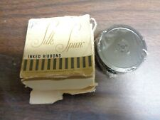 """Silk Spun Inked Ribbon Adler Facit 1/2"""" x 18"""" yds Silk Black & Rred #55 Med Heav"""