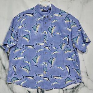 PURITAN Blue Multicolor Fish Pattern Button Front Shirt Short Sleeve 100% Cotton
