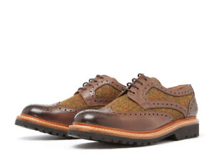 Chatham HEBRIDES - Dark Brown Leather and Tweed Brogues Mens Shoes RRP 160
