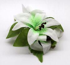 Hawaii Hair Clip Lei Party Luau Flower Dance Beach Photo Tiger Lily Green Heart