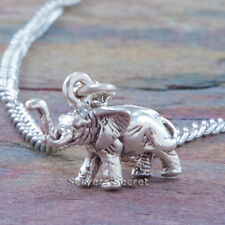 .925 sterling silver ELEPHANT 3D Charm Good Luck Symbol Pendant Chain Necklace