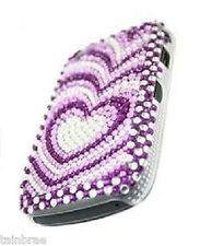 BlackBerry 9800 Purple Hearts Bling Diamante Hard Back Case