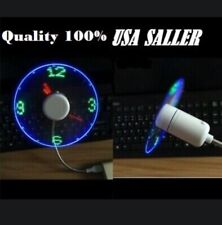 SPTIME USB Powered LED Cooling Neon Real Time Display Function Clock Fan 100%AAA