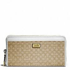 New COACH F49614 Madison Needlepoint Op Art Accordion Zip Wallet  White/Khaki