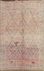 Semi-Antique Moroccan Geometric Oriental Area Rug Wool Hand-knotted Carpet 7'x9'
