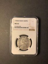 India Queen Victoria silver rupee 1900 Bombay uncirculated NGC MS62