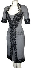 KAREN MILLEN BLACK WHITE GREY WOOL GALAXY TWEED & LACE CORSET RARE DRESS 12 BNWT