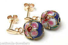 9ct Gold Drop earrings Chinese Blue Enamel Ball Gift Boxed Made in UK