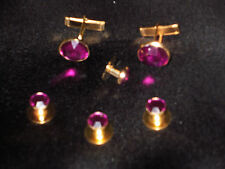 Cufflinks and Tuxedo Studs Gold  Fuchsia Pink New