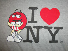 "M&M Chocolate Candy Character ""I Heart NY"" New York Gray 90/10 Graphic T Shirt L"