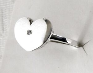 Genuine Diamond Heart Ring / size 5 / 925 Sterling Silver / 0.02cts