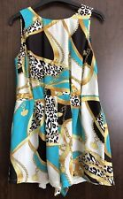 Black, White & Turquoise Leopard Chain Print Playsuit All In One Size 12