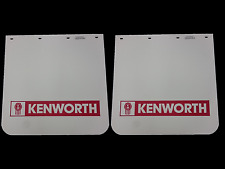 "2x Kenworth Truck Mud Flap - White with Red Logo 24"" x 24"""