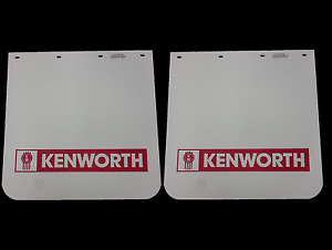 """2x Kenworth Truck Mud Flap - White with Red Logo 24"""" x 24"""""""