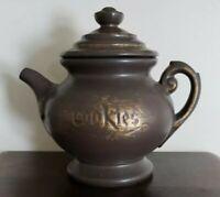 Vintage 70's McCoy USA Teapot Gray & Gold Tea Kettle Pottery Ceramic Cookie Jar