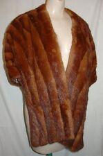 VTG Duplers mohogany brown unknown fur stole wrap shawl inside pockets A896332