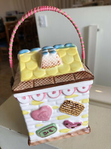 VINTAGE CERAMIC LOLLY POT IN SHAPE OF HOUSE WITH WICKER WOOD HANDLE -JAPAN