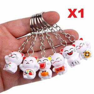 1 x White Fortune Cat Lucky Maneki Neko Bag Zip Charm Key Chain
