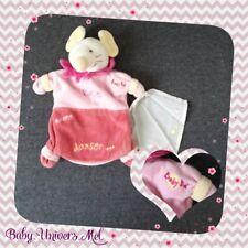 Peluche Doudou Baby Nat Souris rose Marionette TBE 23cm