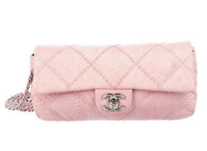 Auth. CHANEL Ultimate Stitch East West Pink Python Quilted Flap Bag Handbag 2011