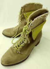 Cole Haan Womens Ankle Boots 7.5 B Brown yellow Leather Canvas Lace Granny 5428